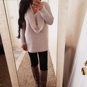 Soft Cozy Knit Mohair Cowl Sweater Tunic Taupe M